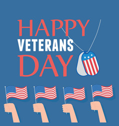 happy veterans day hands with american flags vector image