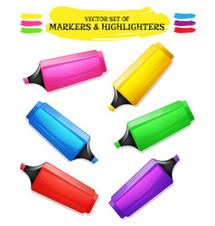 highlighters and felt tip pen set vector image