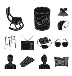 Human old age black icons in set collection for vector