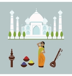 India landmark travel icons collection vector