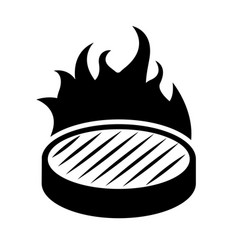 Isolated arepa icon in flames vector