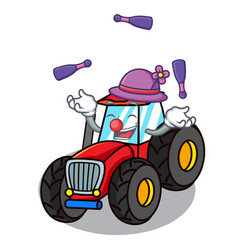 Juggling tractor mascot cartoon style vector