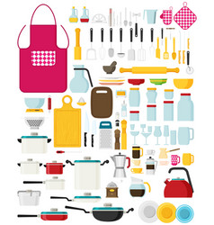 kitchen utensils set flat kitchenware cookware vector image