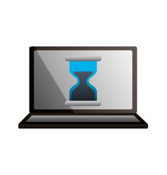 laptop hour glass time business vector image