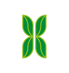 letter x logo eco symbol from four green leaves vector image