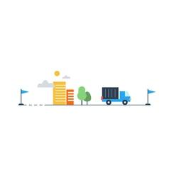 Logistics company truck delivery vector
