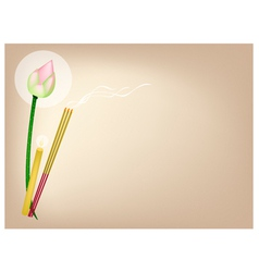Lotus with Joss Sticks and Candle on Brown vector