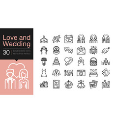 love and wedding icons modern line design vector image