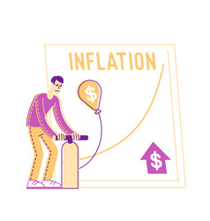 Male character inflate balloon with dollar sign vector