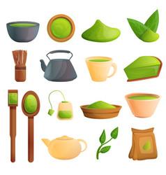 Matcha tea icons set cartoon style vector