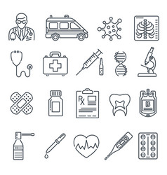 medical healthcare line icons set vector image