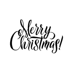 Merry Christmas Calligraphy Greeting Card Black vector