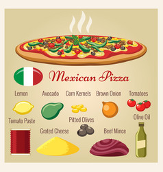 mexican pizza ingredients vector image