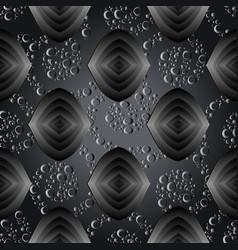 modern abstract dark black 3d seamless pattern vector image