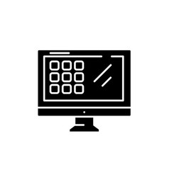 modern monitor black icon sign on isolated vector image