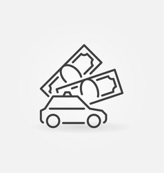 money and taxi concept icon in outline vector image