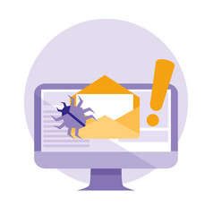 monitor and envelope mail with attack virus vector image