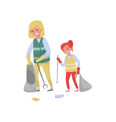 Mother and her dughter in vests gathering garbage vector