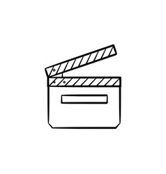 movie clapboard hand drawn outline doodle icon vector image