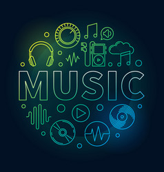 music colored round or symbol vector image