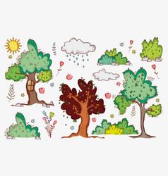 nature doodle cartoons vector image
