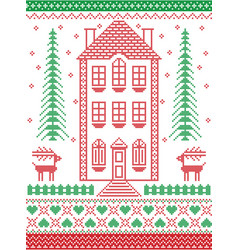 Nordic christmas ginger house in cross stitch vector