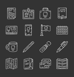 office equipment chalk icons set business tools vector image