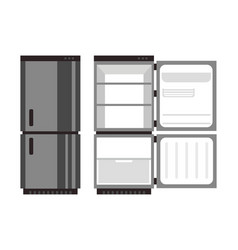 open and closed fridge food vector image