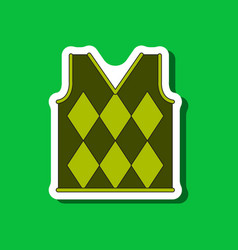 Paper sticker on stylish background golf vest vector
