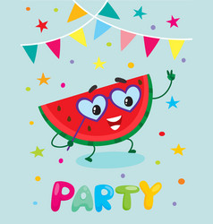 party flayer template cute watermelon character vector image