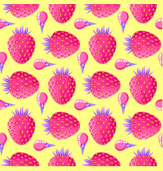 pattern with strawberries and ice cream vector image