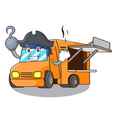 Pirate rendering cartoon of food truck shape vector