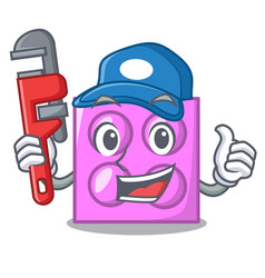 Plumber toy brick mascot cartoon vector