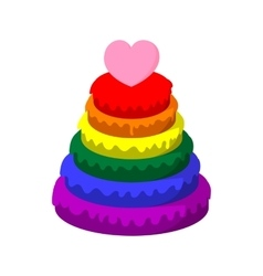 Rainbow pyramid with heart cartoon icon vector