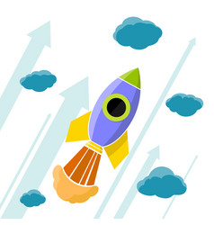 Rocket is flying in the clouds vector