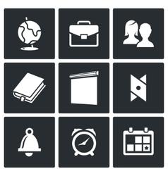 School supplies icons set vector