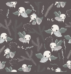 Seamless pattern with cute skeleton birds on gray vector