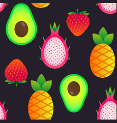 seamless pattern with summer fruits vector image