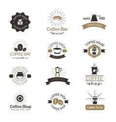 Set coffee shop sign cafe symbol espresso vector
