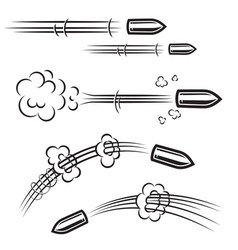 set of comic style bullet action effects design vector image