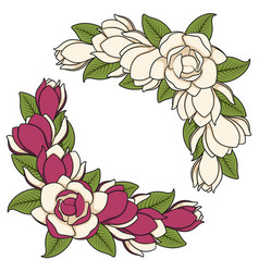 Set of of flowering magnolia branches vector
