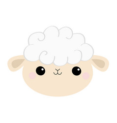 sheep lamb face head round icon cloud shape cute vector image
