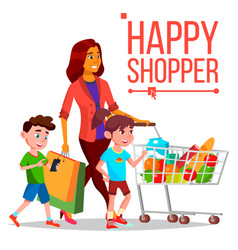 shopping woman with children purchasing vector image