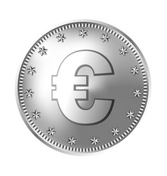 silver euro coin money vector image
