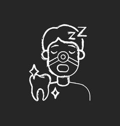 sleeping dentistry chalk white icon on black vector image