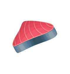 Slice of raw tuna fish meat seafood concept vector