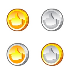 Thumbs up coins vector