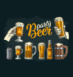 two hands holding beer glasses mug glass can vector image