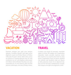 vacation travel line template vector image