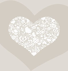 Valentites heart objects white biege vector